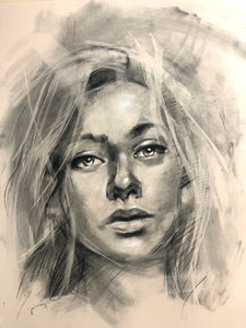 Original Charcoal Portrait Drawing