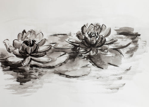 Large Original Water Lilies Drawing #105