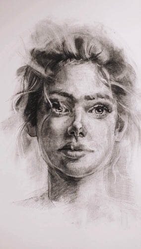 Original Charcoal Drawing of a Woman