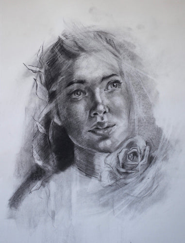 Original Charcoal Drawing of a Woman with Florals