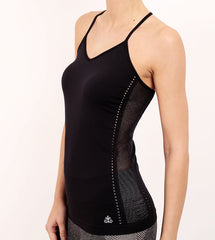 Monica - Black Seamless Cami With Strap & Mesh Detail