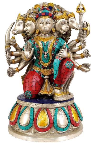 Five Headed Hanuman Statue (with inlay)