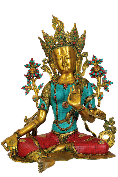 Green Tara Goddess Statue (with inlay)