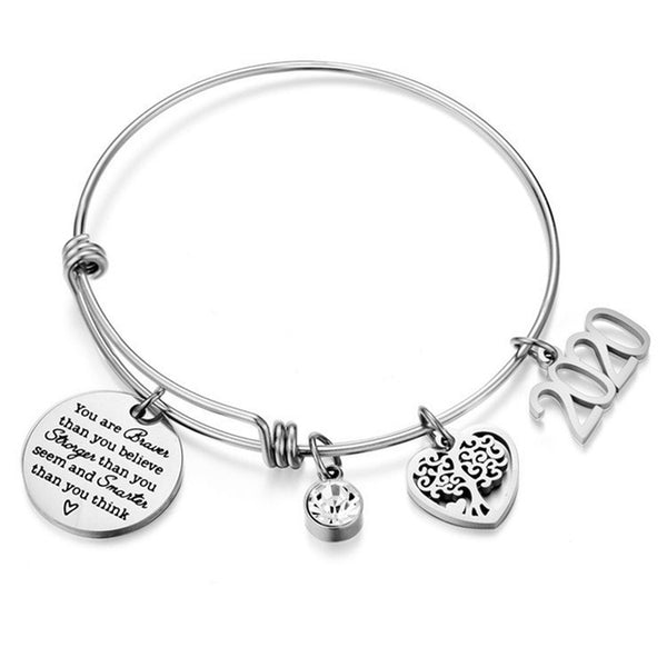Inspirational Quotes Bangle Heart Charm Bracelets