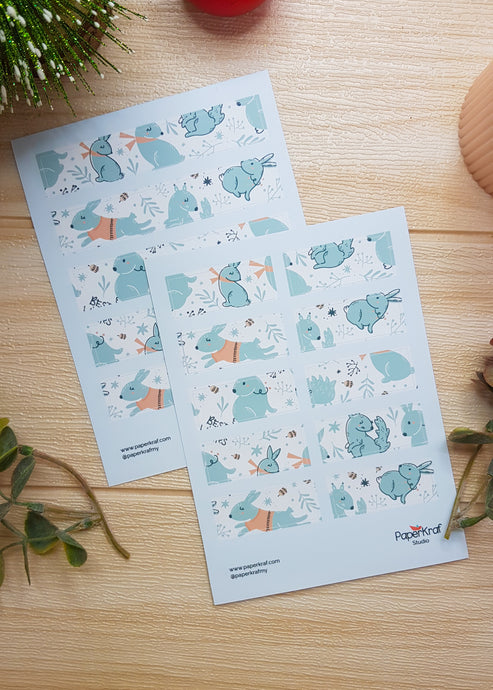 Winter Rabbit Washi Sticker