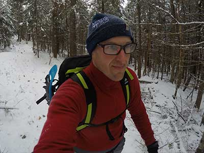 Will Hiking in Ridge Cuff Wool Beanie and Isolation 1/4 Zip