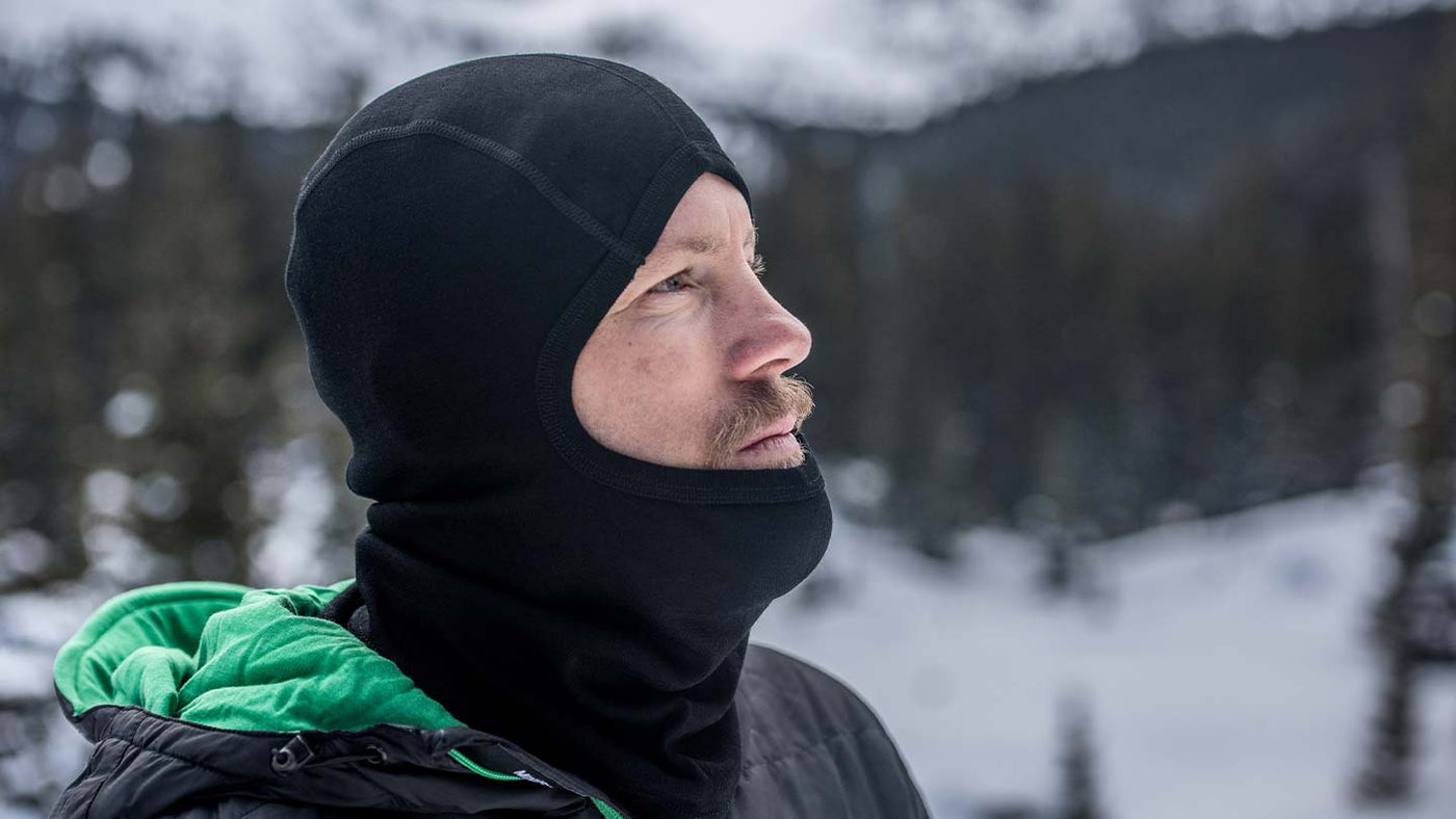 Man Wearing Minus33 Expedition Weight Merino Wool Balaclava