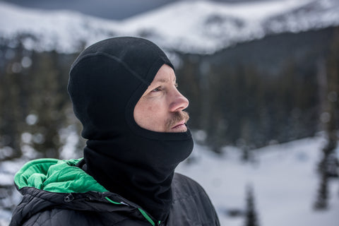 man wearing balaclava to protect his face from the cold