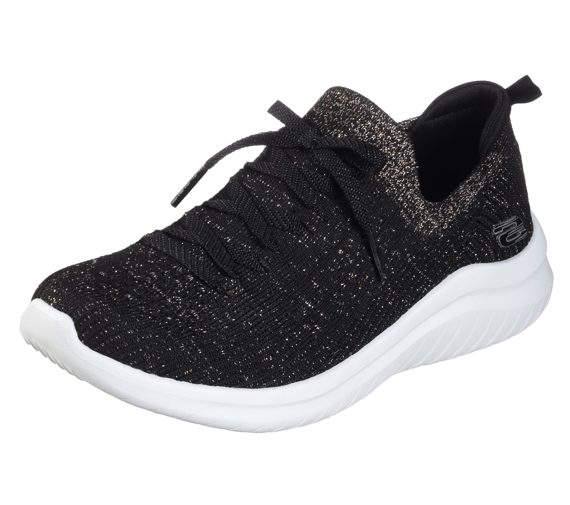 Skechers Air Cooled Memory Foam Black Gold Lace Up Trainer