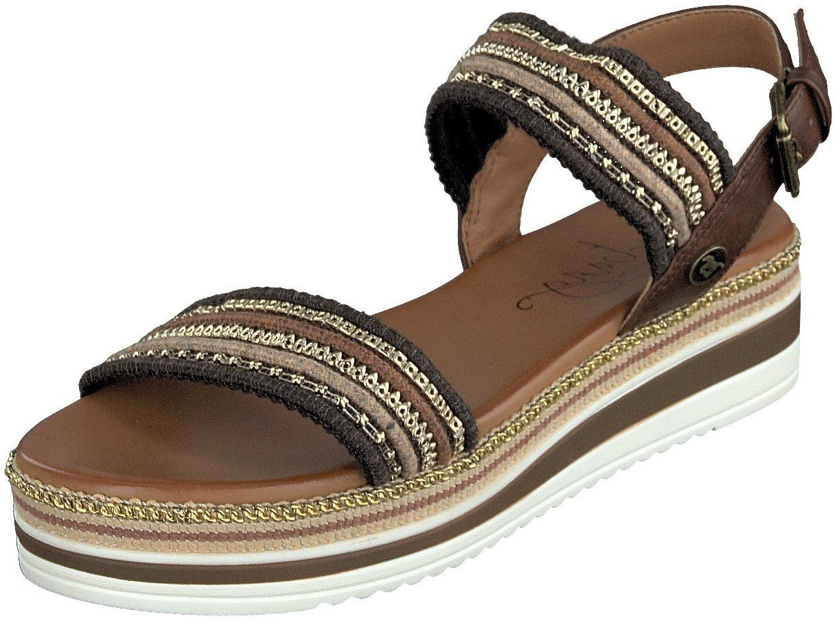 Mustang Ladies/Women 1390-802-3 Brown Slip On Flat Sandal