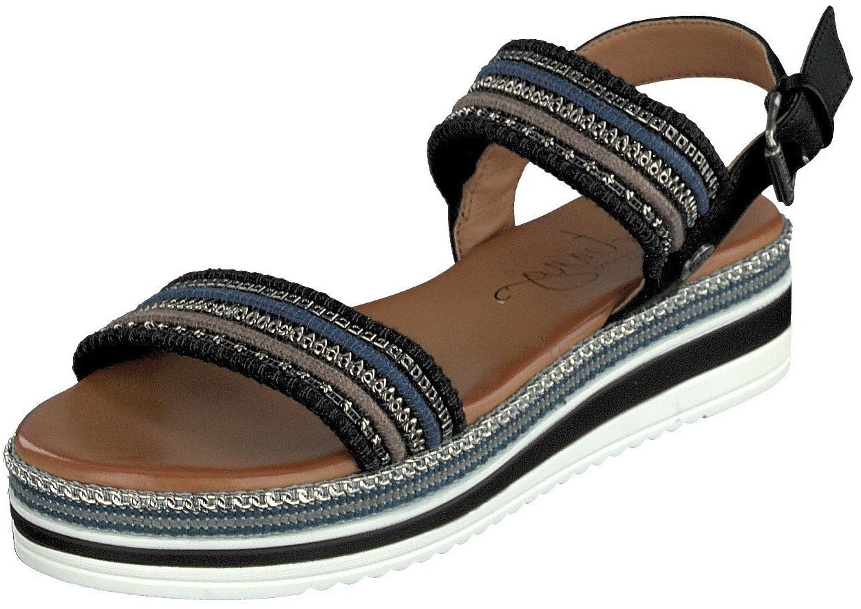 Mustang Ladies/Women 1390-802-9 Black Slip On Flat Sandal