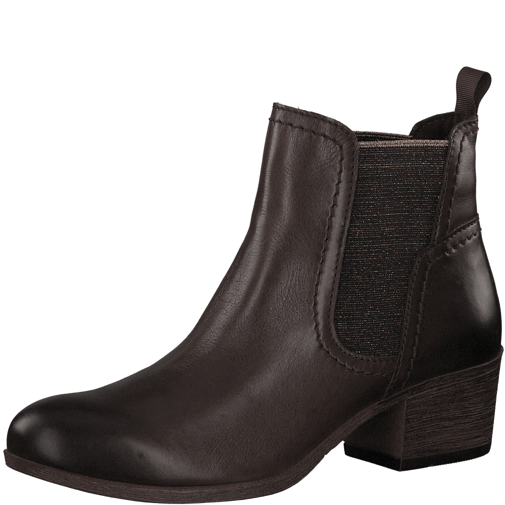 mocca brown leather low heel chelsea ankle boot
