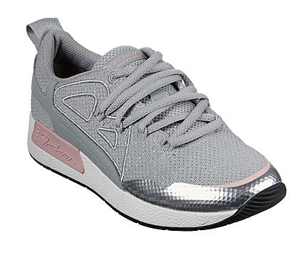 Skechers Women's Bobs Be Real Grey and Pink Lace Up Trainers