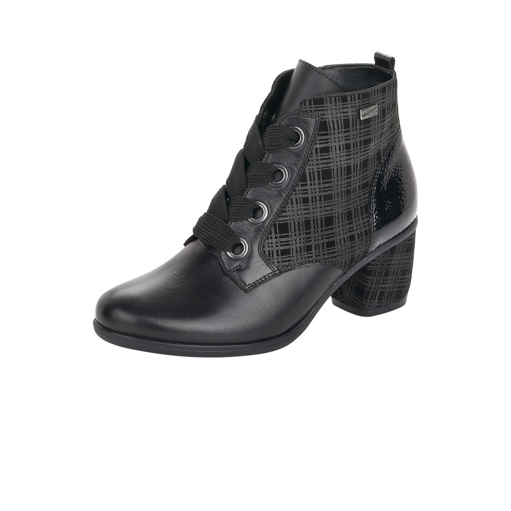 Remonte Black Check Print Detailed Lace Up Low Heel Ankle Boot