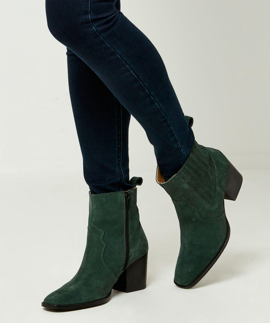 Joe Browns High Society Suede Boots Dark Green