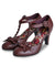 burgundy mid heel shoes