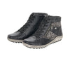 Remonte Black and Grey Floral Print Zip Up Ankle Boot