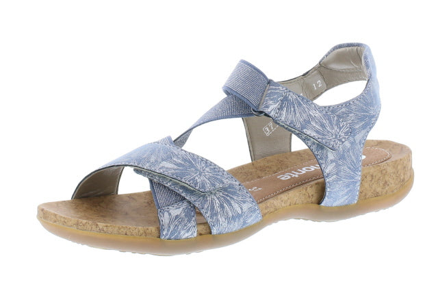 Remonte Multi Blue Metallic Floral Pattern Low Heel Sandal