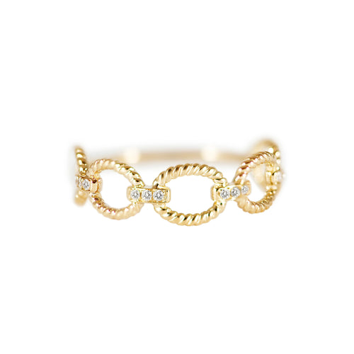 Diamond Gold Rope Pattern Ring