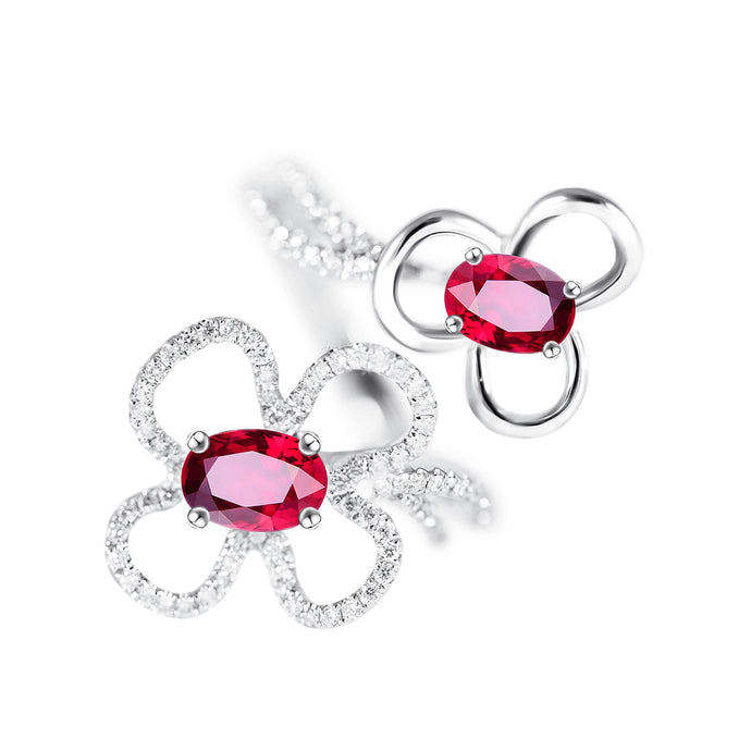 Ruby and Diamond Flowers Ring