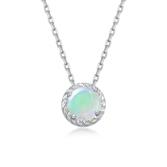 Birthstone October Opal Pendant Chain