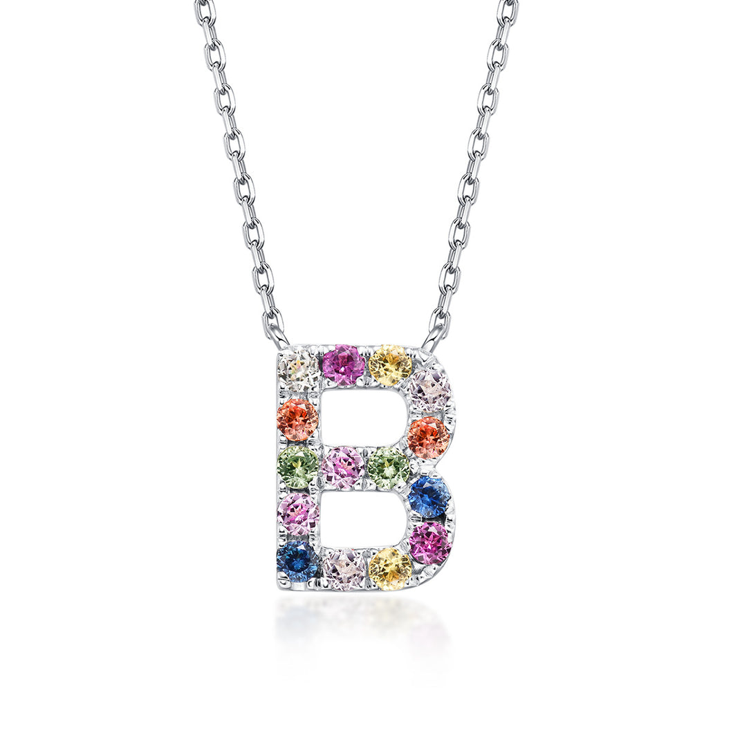 Initial Rainbow Sapphire Necklace - B