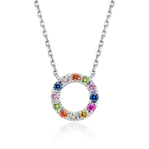 Initial Rainbow Sapphire Necklace - O