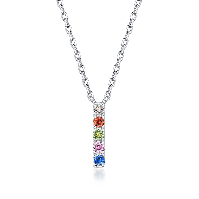 Natural Rainbow Sapphire Initial Necklace - I