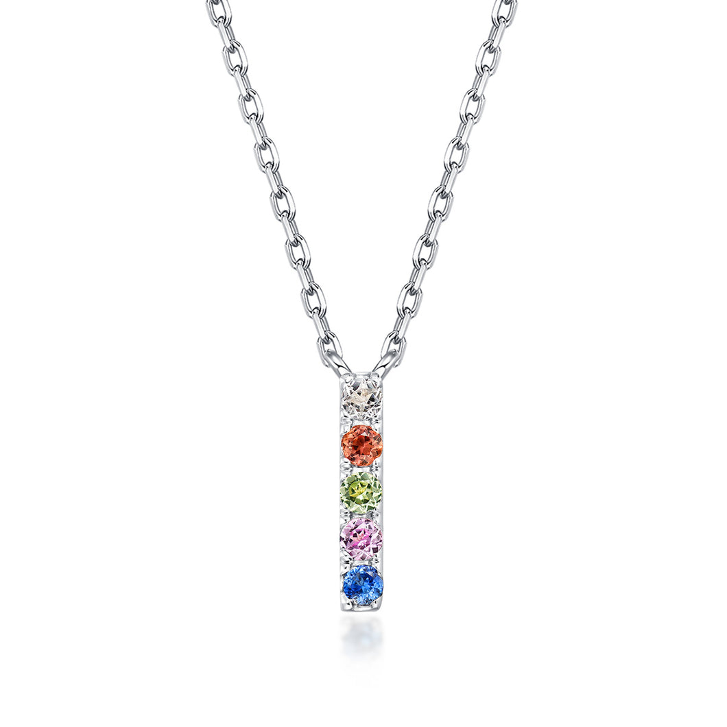 Initial Rainbow Sapphire Necklace - I