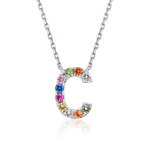 Initial Rainbow Sapphire Necklace - C