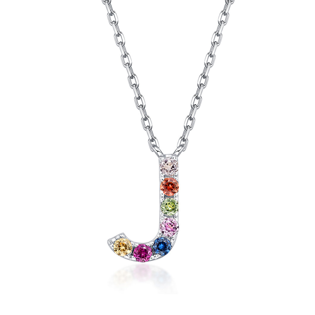 Initial Rainbow Sapphire Necklace - J