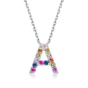 Initial Rainbow Sapphire Necklace - A