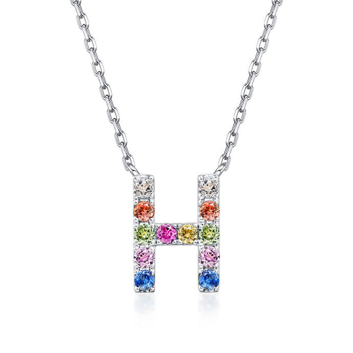 Natural Rainbow Sapphire Initial Necklace - H