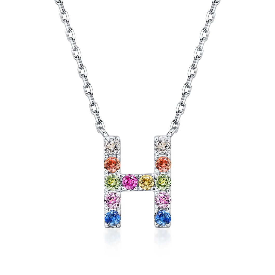 Initial Rainbow Sapphire Necklace - H