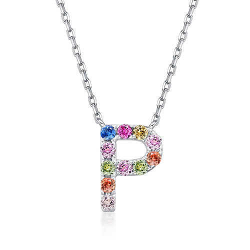 Initial Rainbow Sapphire Necklace - P
