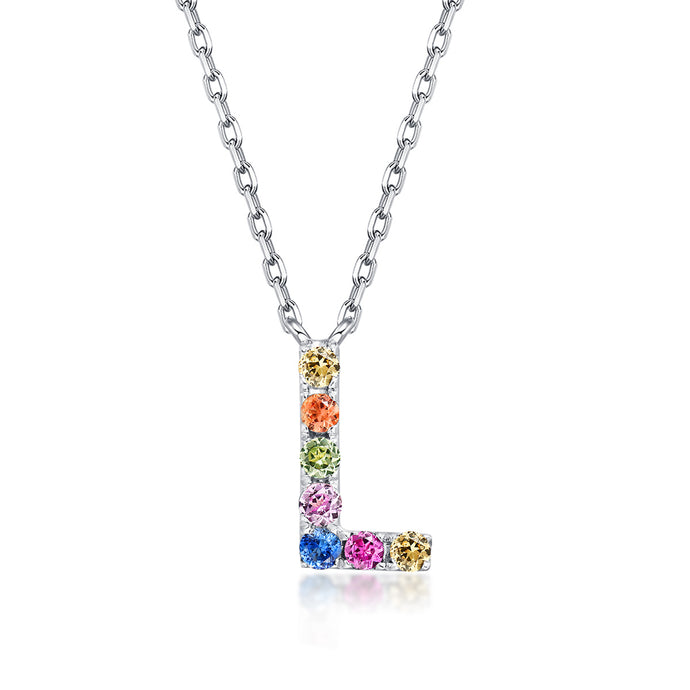Initial Rainbow Sapphire Necklace - L