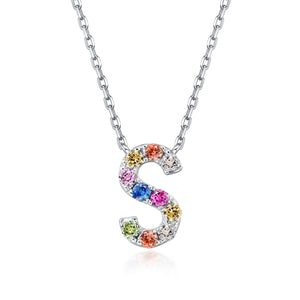 Initial Rainbow Sapphire Necklace - S