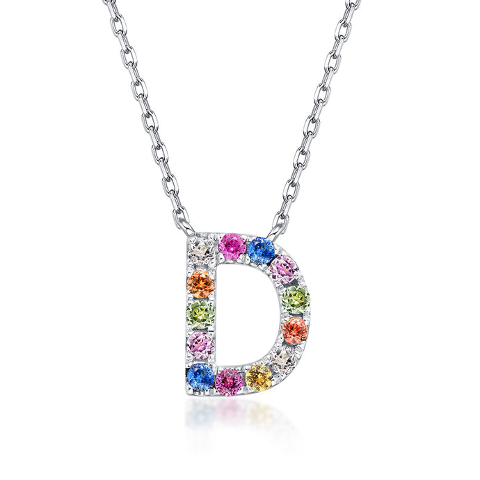 Natural Rainbow Sapphire Initial Necklace - D