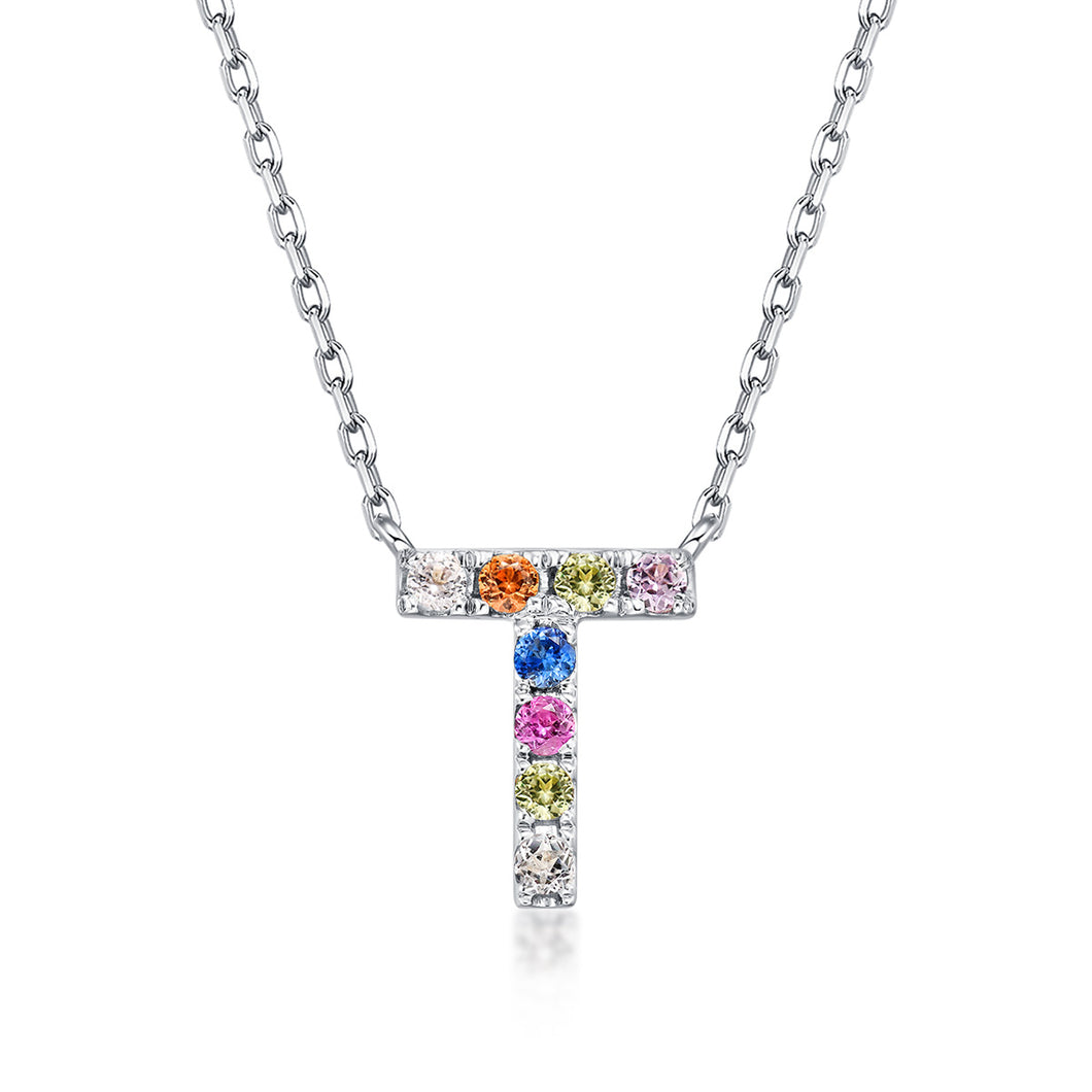 Initial Rainbow Sapphire Necklace - T