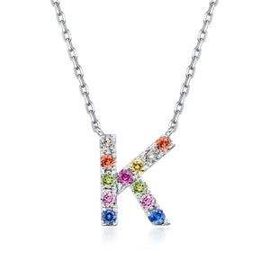 Initial Rainbow Sapphire Necklace - K