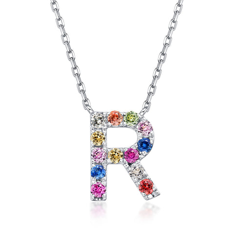 Initial Rainbow Sapphire Necklace - R