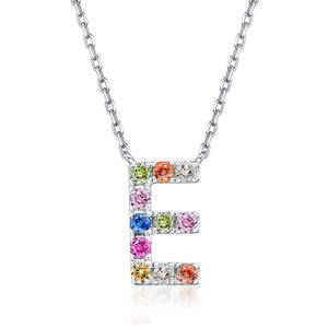 Initial Rainbow Sapphire Necklace - E