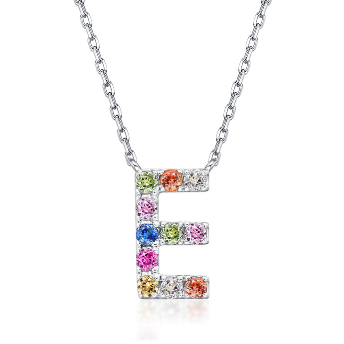 Natural Rainbow Sapphire Initial Necklace - E