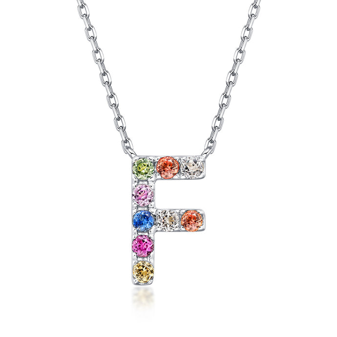 Natural Rainbow Sapphire Initial Necklace - F