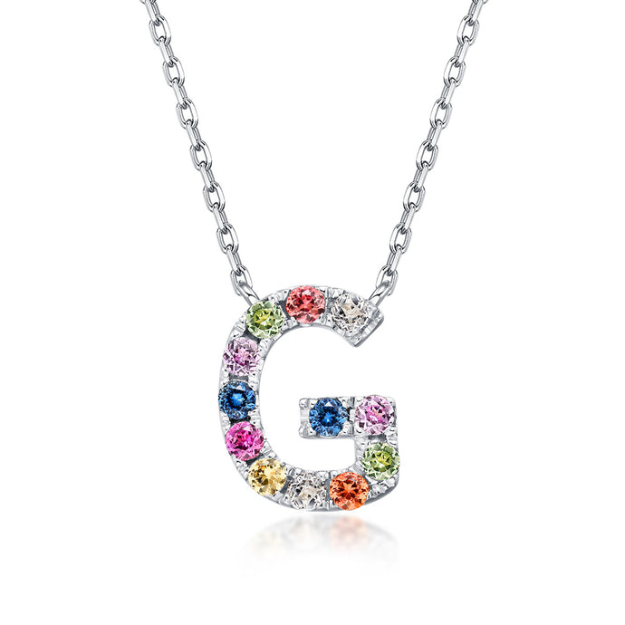 Natural Rainbow Sapphire Initial Necklace - G