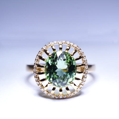 Green Tourmaline Ring - 2.98 cts