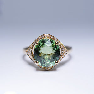 Green Tourmaline Ring - 3.685 cts