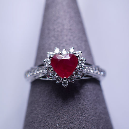 Ruby Ring - 1 ct Heart