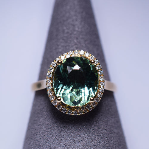 Green Tourmaline Ring - 3.73 cts