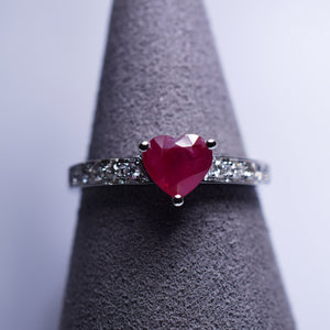 Ruby Ring - 1.15 cts heart